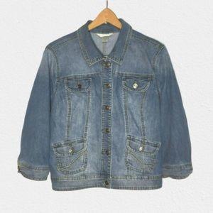 Christopher & Banks Blue Stretch Denim Crop Jacket